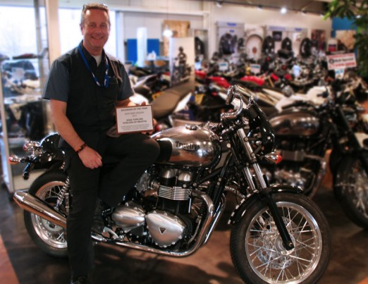 Mike with his Award on a custom painted Thruxton
