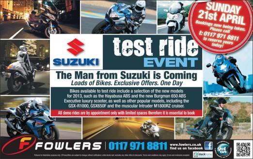 Bristol Post Suzuki Test Ride 19th March 2013