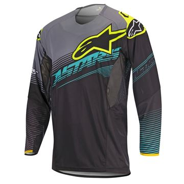Picture of ALPINESTARS TECH 17 FACTORY JERSEY BLK/TEAL/YE