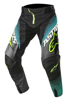 Picture of ALPINESTARS TECH 17 FACTORY PANT BLK/TEAL/YEL
